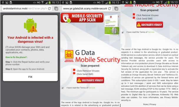 Figures 6-8 Scareware messages and a fake G-Data Mobile Security webpage