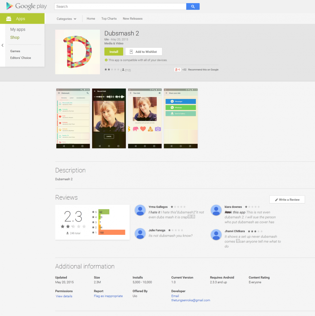 Dubsmash 2 falso en Google Play, disponible entre el 20 y el 22 de mayo