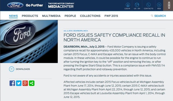 Ford advisory  sc 1 st  WeLiveSecurity & 433000 Ford cars to be recalled because of software bug markmcfarlin.com
