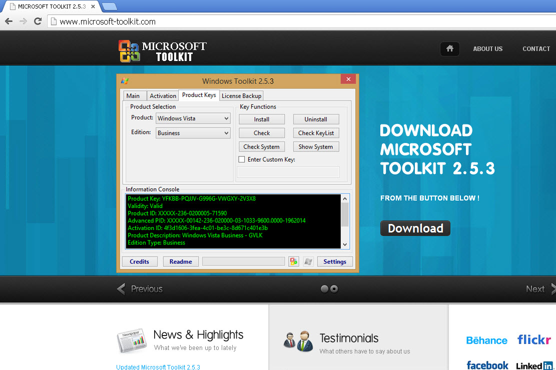 sitio falso Microsoft Toolkit