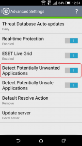Figure 7: Detection of potentially unwanted applications