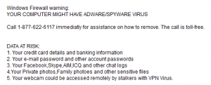 data at risk popup  - data at risk popup 300x121 - Tech Support Scams: Top of the Pop-Ups
