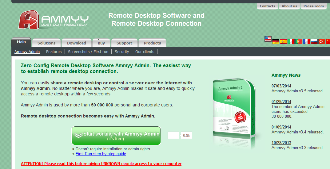 Figure 1 – Ammyy.com legitimate website