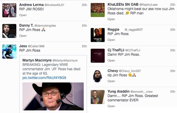 Tweets from Jim Ross fans