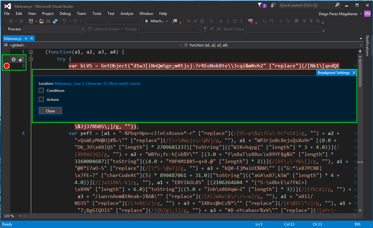 How to isolate VBS or JScript malware with Visual Studio