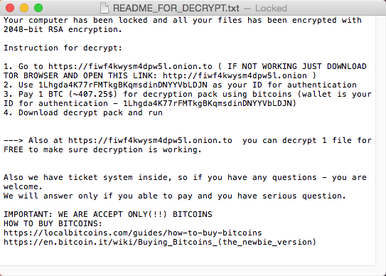 Figure 6 - The ransom demand text created by OSX/Filecoder.KeRanger.A Trojan