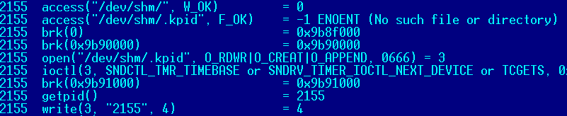 Figure 6 – strace of the daemon pid file creation