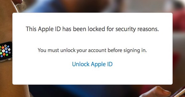 Message saying your Apple ID has been locked