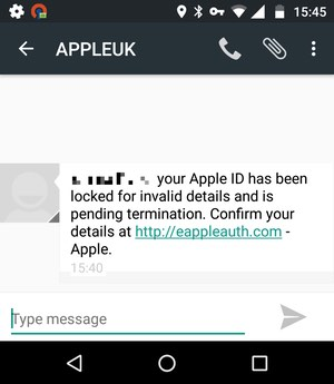 Scam SMS message  - scam sms - SMS phishing attackers continue to pursue Apple users
