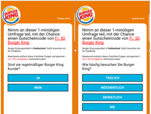 Burger King Scam-Umfrage