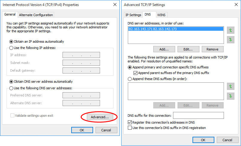 "Figure 4: Windows Advanced TCP/IPDNS Settings Control Panel with ""hidden"" DNS settings"