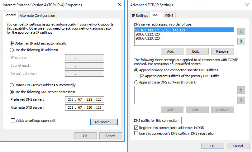 "Figure 5: Manually setting known good DNS entries when ""hidden"" DNS settings were already in effect"
