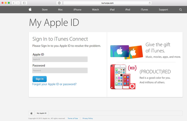 Apple ID phishing page  - itunes phishing - Scammers claim there is a virus in Apple's iTunes database