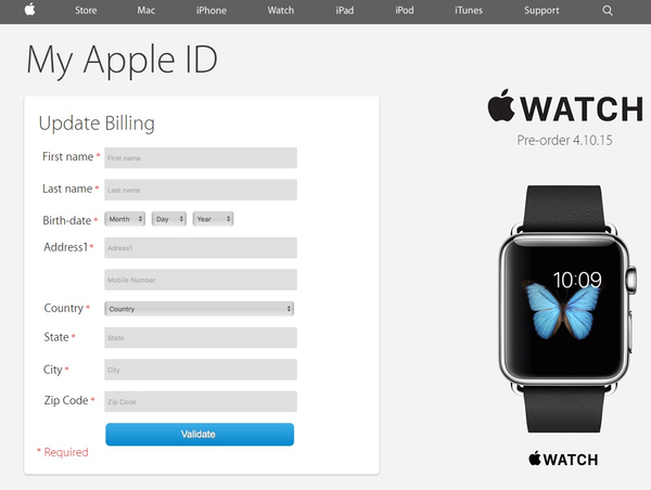 Updating billing Apple ID phishing page