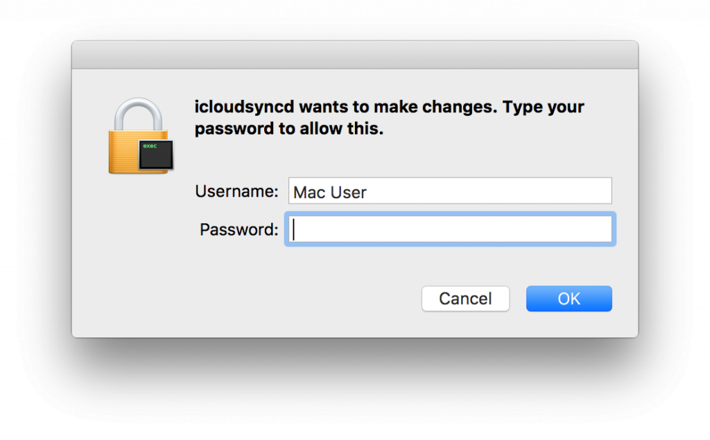 Figure 13: icloudsyncd requesting privileges