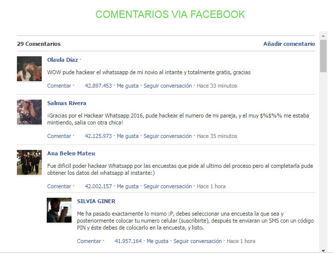 comentarios via facebook