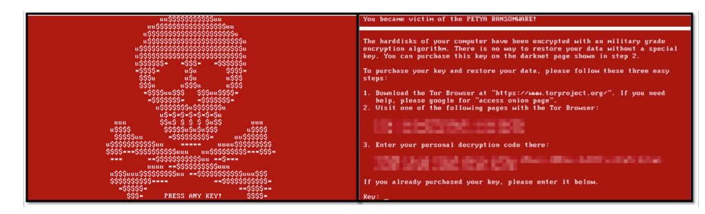 Figure 5: Petya skull screen and the ransom screen shown after pressing a key