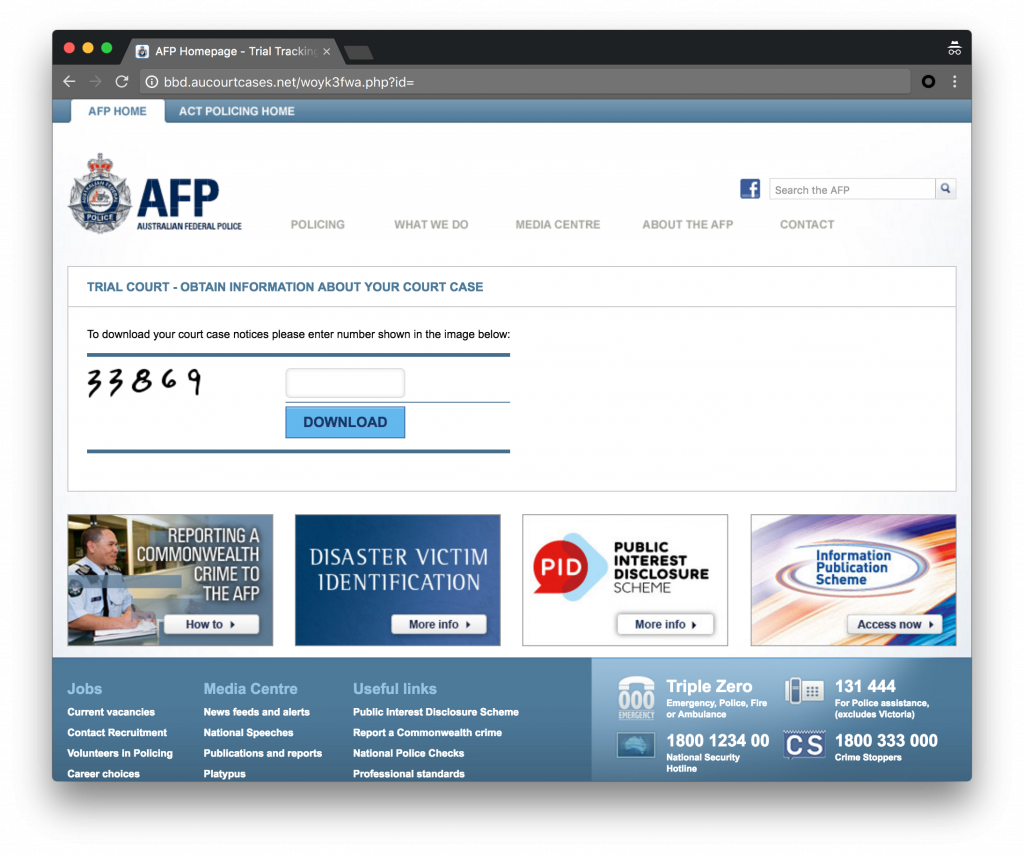 Figure 3: Download page for Australia campaign mimics AFP