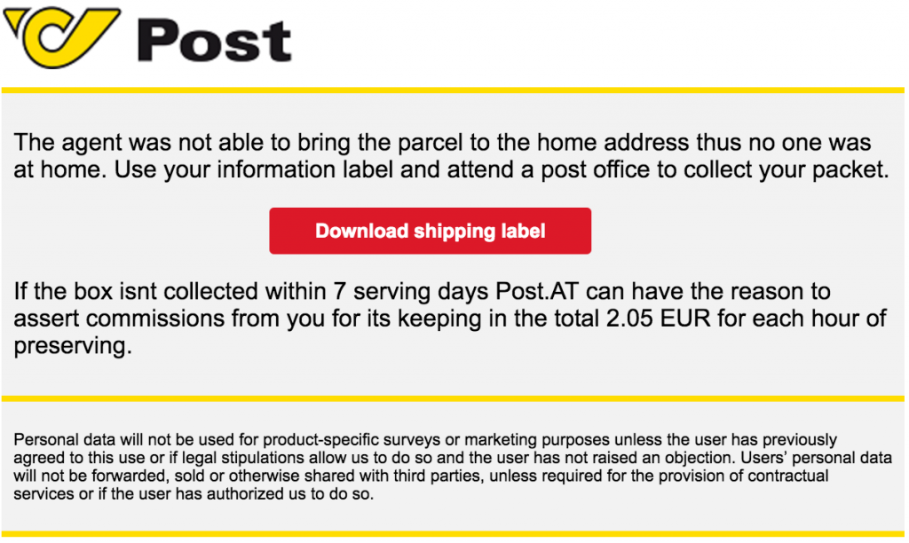 Figure 1: Spam for Austria looks like it comes from Österreichische Post