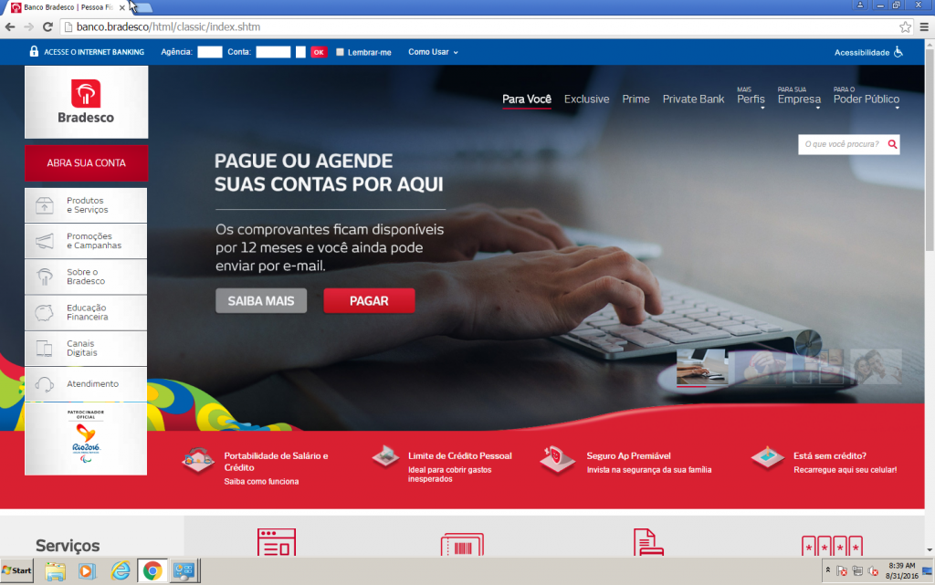 Screenshot der originalen banco.bradesco Bank