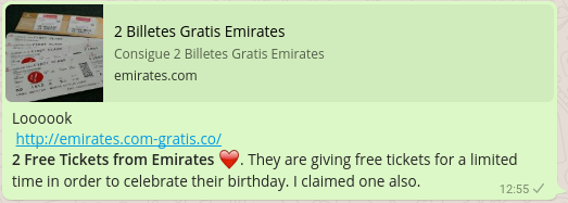 1 WhatsApp message  - 1 WhatsApp message - New airline scam promises free Emirates flight tickets