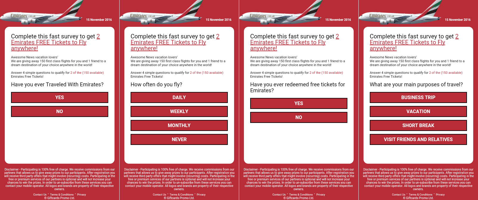 2 WhatsApp survey  - 2 WhatsApp survey - New airline scam promises free Emirates flight tickets