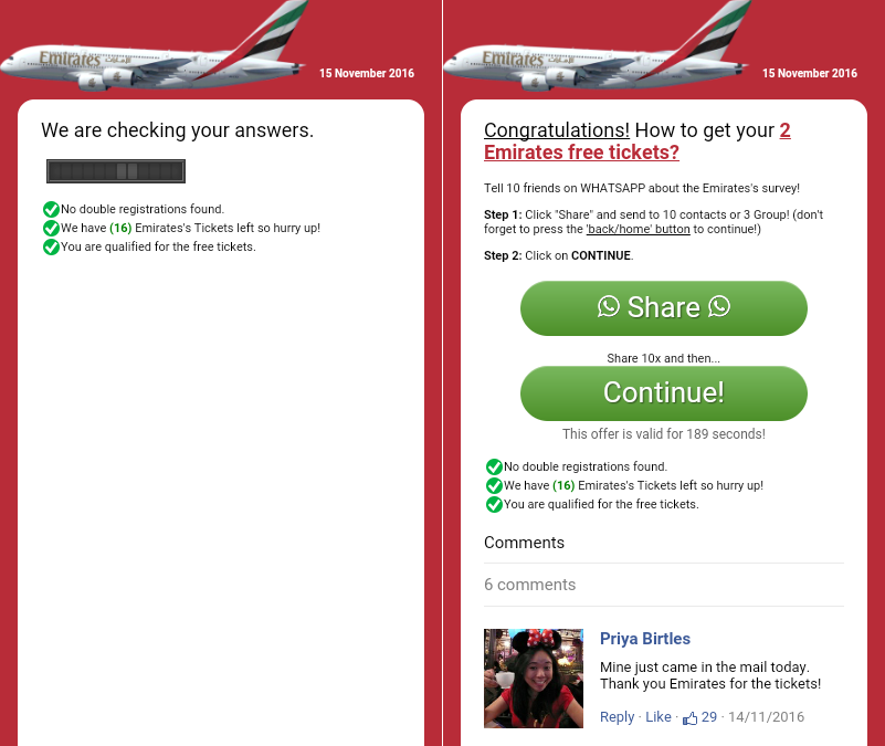 3 Share campaign  - 3 Share campaign - New airline scam promises free Emirates flight tickets