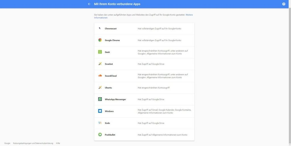 Google Apps Zugriff