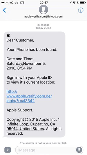 SMS phishing campaign targeting German phone user