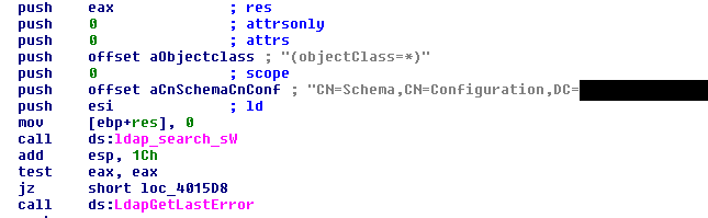 Figure 8: Disassembled code of the tailored LDAP query tool.