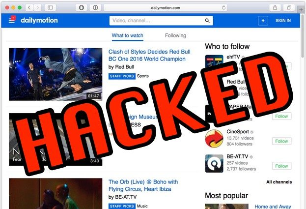 Dailymotion hacked, millions of user accounts exposed