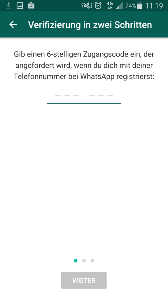 Screenshot WhatsApp PIN