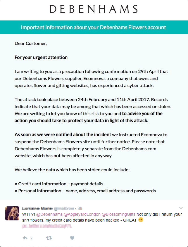 - debenhams fuzz - Cybercriminals are saying it with flowers from Debenhams
