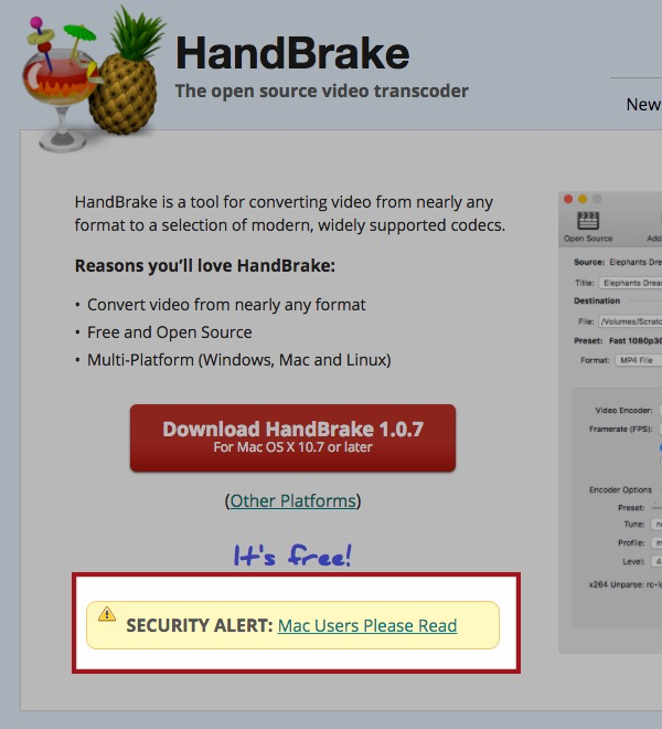 - handbrake alert - Malware warning for Mac users, after HandBrake mirror download server hacked
