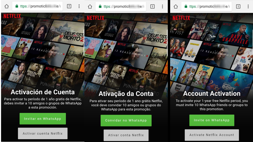 New WhatsApp scam  - netflix idiomas - Netflix free for a year