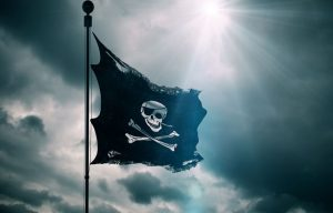 Flag of skull and bones to illustrate story on Pirates of the Caribbean movie cybercriminal ransom bid