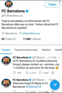 Hacked tweets on the FC Barcelona Twitter feed