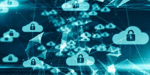 Cloud security policy - several clouds with secure padlock on them