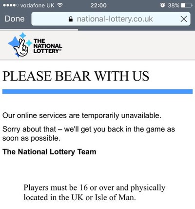 - lottery site down - National Lottery taken offline as a DDoS attack strikes.
