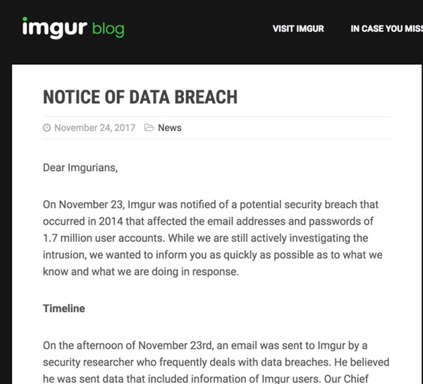 - breach blog - Imgur hit by hack as account details are stolen for 1.7 million users