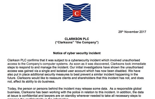 - clarksons statement - Shipping giant refuses to pay hackers ransom after data stolen
