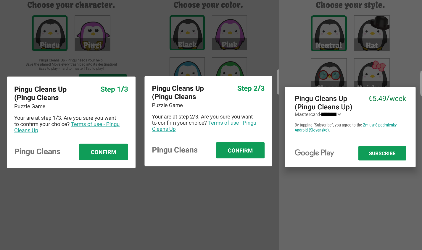 - Figure3 - Pingu Cleans Up game attempts to trick users into paid weekly subscription