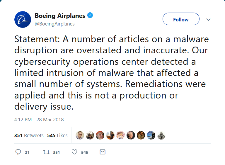 - Screenshot 2018 3 29 Boeing Airplanes on Twitter - Boeing suffers WannaCryptor scare as computers are attacked