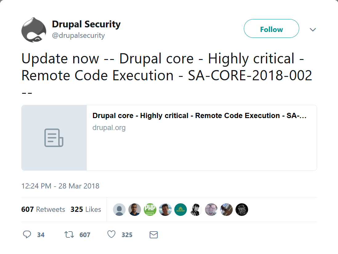 """- Screenshot 2018 3 29 Drupal Security on Twitter Update now Drupal core Highly critical Remote Code Execution SA CO  - Drupal urges users to install a patch for a """"highly critical"""" vulnerability"""