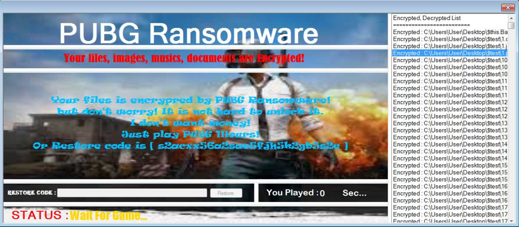 - PUBG ransomware screenshot - Play not pay is the curious demand after a recent ransomware attack