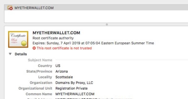- fake myetherwallet warning - Cryptocurrency wallets raided following hijack of internet domain service