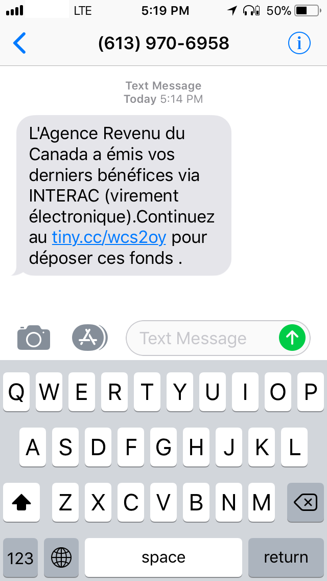 figure 1 sms message from a fraudster translation canada revenue agency issued your benefits via interac electronic transfer