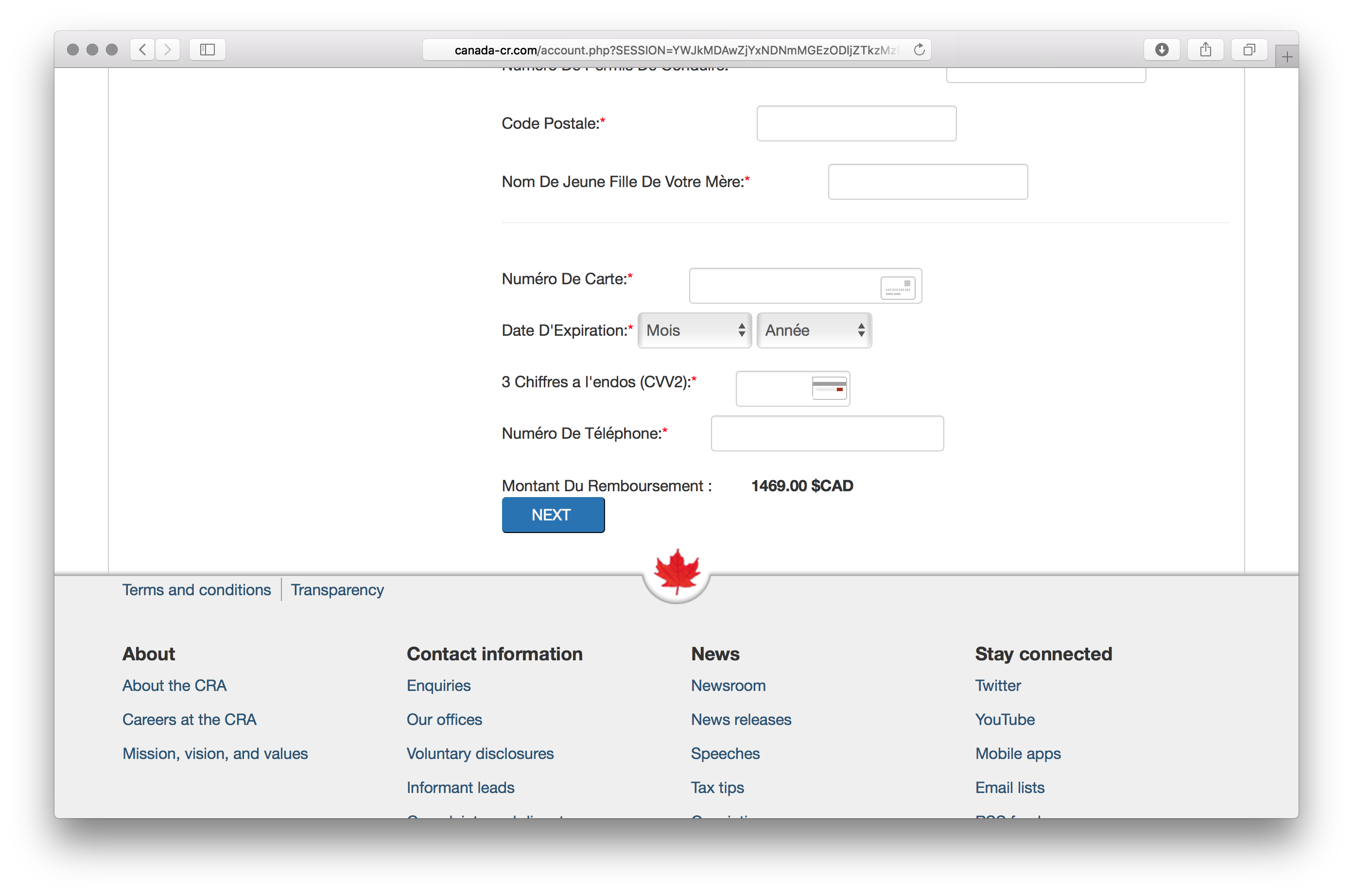 figure 5 phishing page with cra theme
