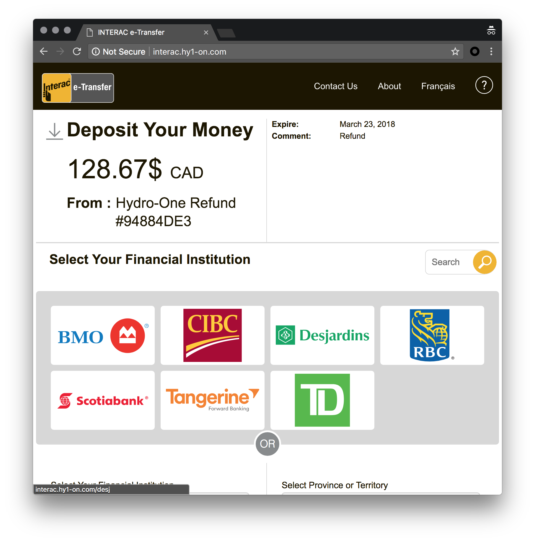 Inside fake Interac transfer and tax refund SMS phishing