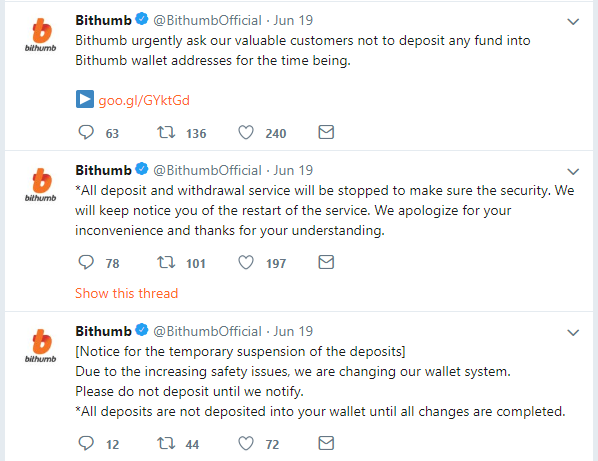 - Bithumb Tweets - Bithumb hacked with a reported $31.5 million of virtual coins stolen